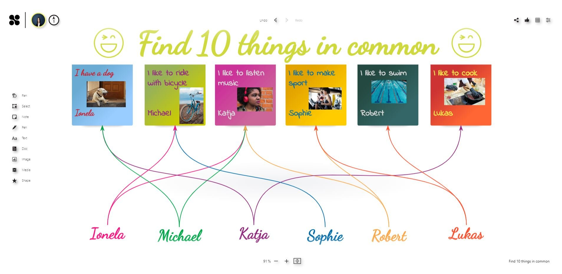 Ice breaker on the online whiteboard: Find 10 things in common