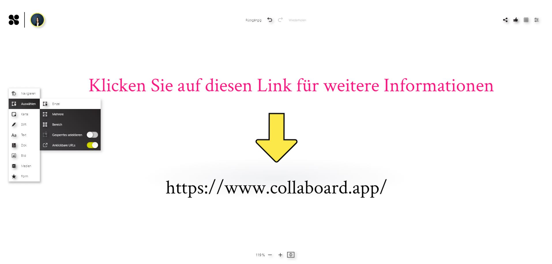 clickable links german