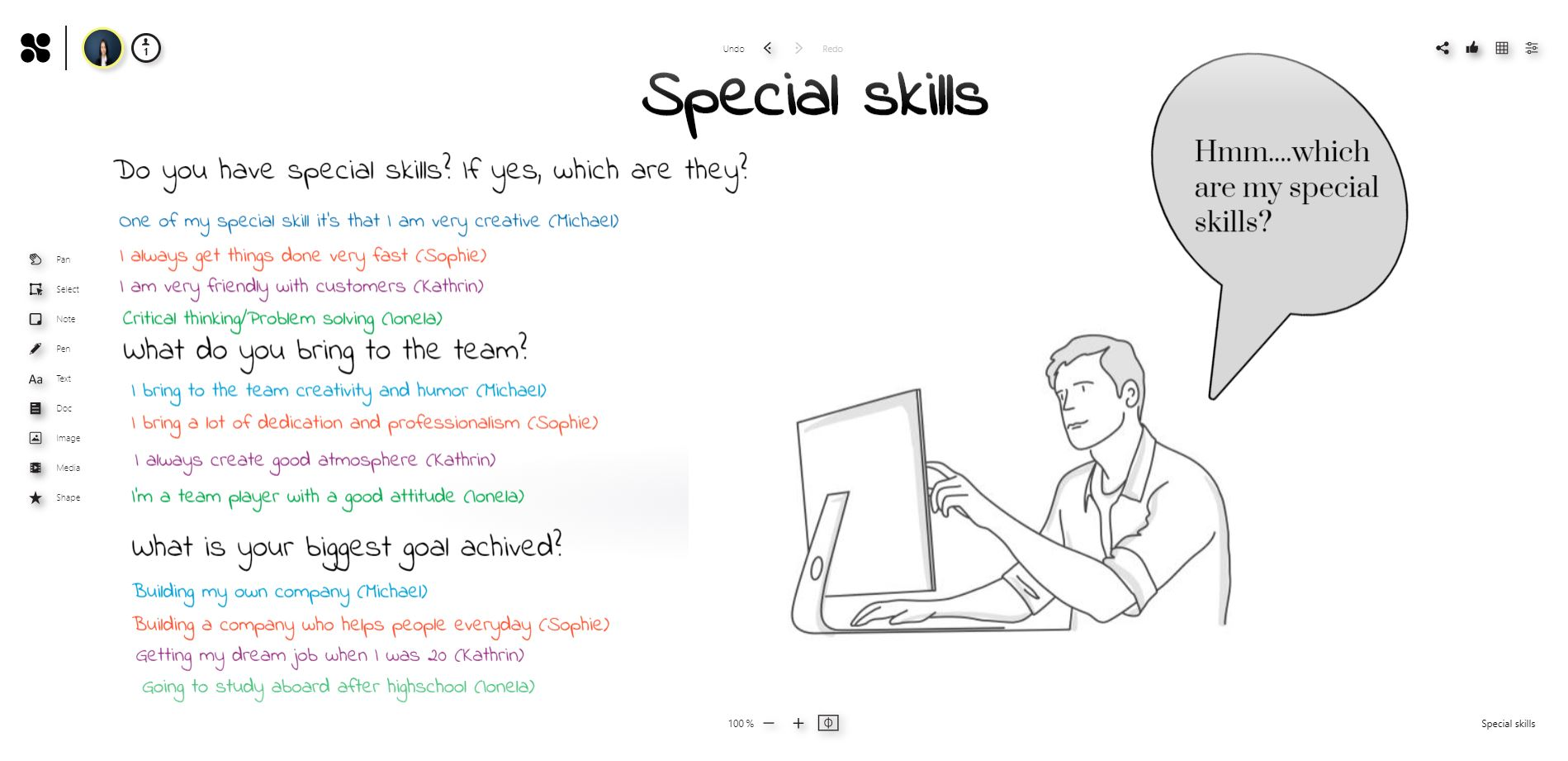 Ice breaker on the online whiteboard: Special skills
